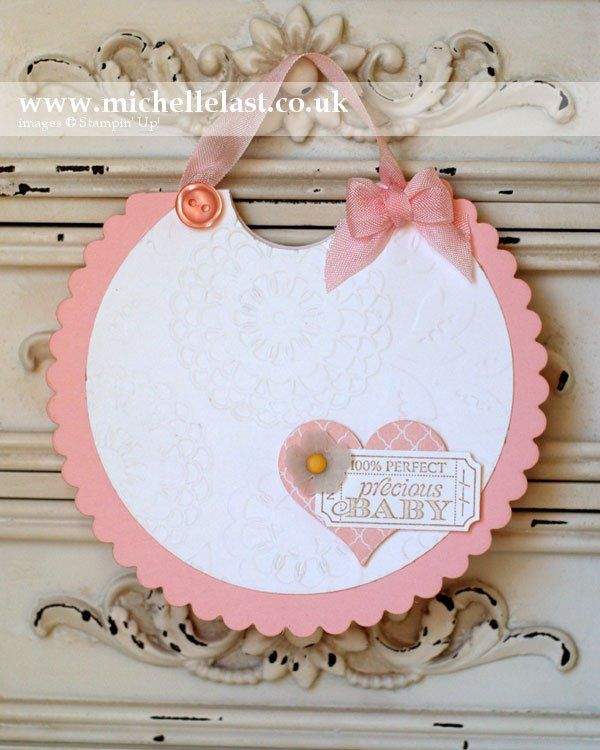 Baby bib card using Circle thinlits dies from Stampin' Up!