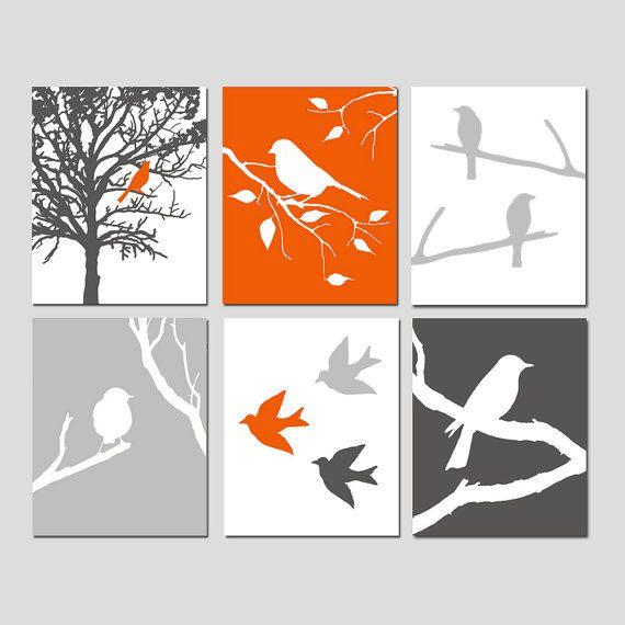 Modern Bird Art - Set of Six 11x14 Prints - Birds, Tree, Branch, Nature - CHOOSE YOUR COLORS - Shown in Red Orange, Gunmetal, Pale Gray