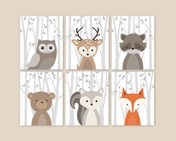 Forest Animals, Birch Branches, Animal Nursery Art, Woodland Nursery Decor, Baby Room Decor, Set of 6 Owl Deer Raccoon Bear Squirrel Fox