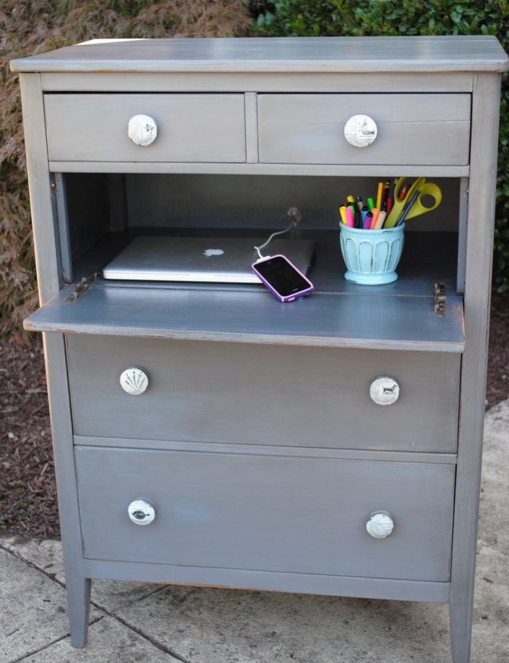 An Unusual Chest of Drawers ...quick and easy solution to no space for an office.  Simply take one drawer, cut off sides and add a hing, pulls out to a little desk with storage above and below.