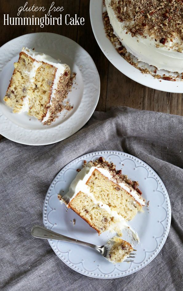 Get this tested recipe for gluten free hummingbird cake—moist banana cake made with crushed pineapple, covered in cream cheese frosting. Yum!