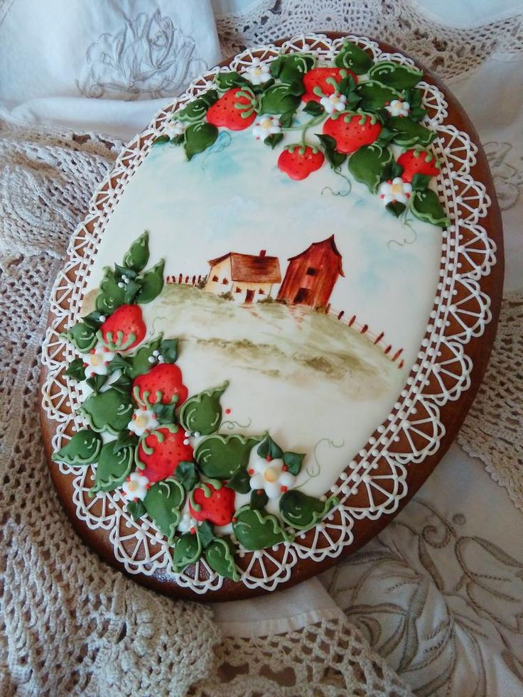 Country Scene and Strawberries | Cookie Connection. decorated gingerbread, cookie art gingerbread