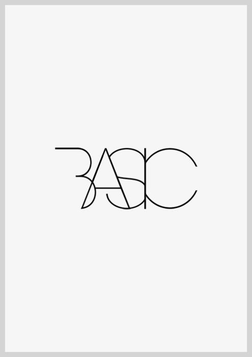 Basic, black & white | typography / graphic design: @ between studio |
