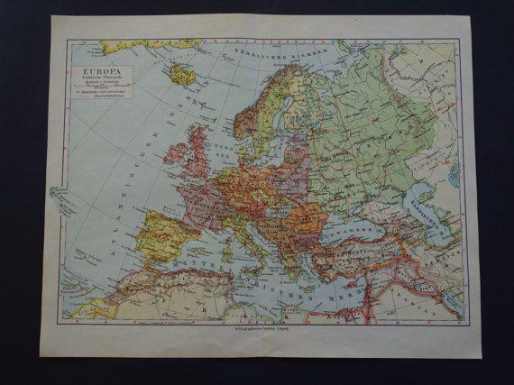 EUROPE old map of Europe 1926 original vintage by DecorativePrints