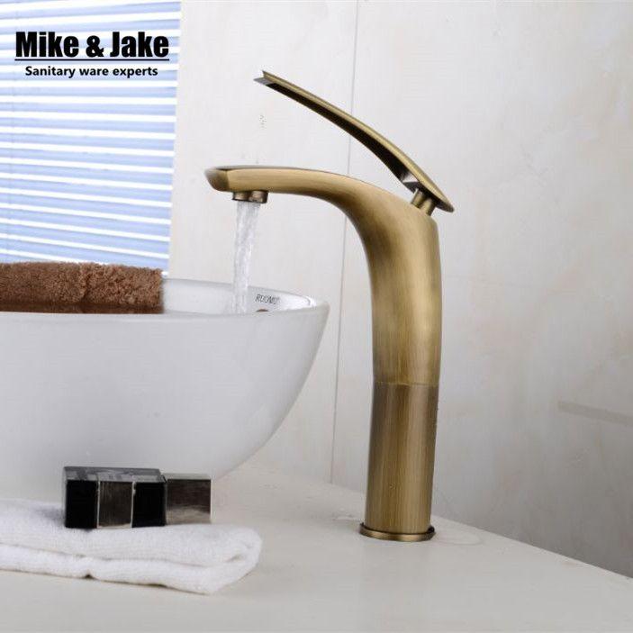 Antique bronze bathroom waterfall tall faucet basin tap single handle classic crane antique brass tap bathroom antique faucet