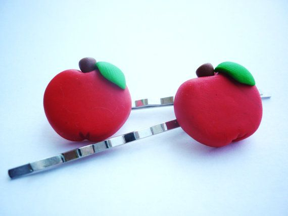 Apple shaped hair pins Hair pins handmade with by JustFingerPrint, $7.00