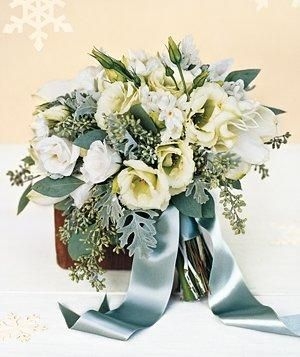 Winter wedding bouquet (eucalyptus, lisianthus, narcissus, and amaryllis)