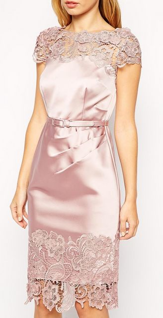 Silky Soft Pink Dress with Lace Details