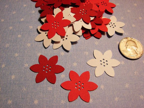 60 Martha Stewart Poinsettia Paper Punch Embellishment Die Cuts