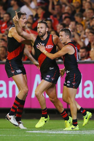 Cale Hooker of the Bombers celebrates a goal during the round one AFL match between the Essendon Bombers and the Hawthorn Hawks at Melbourne Cricket Ground on March 25, 2017 in Melbourne, Australia.