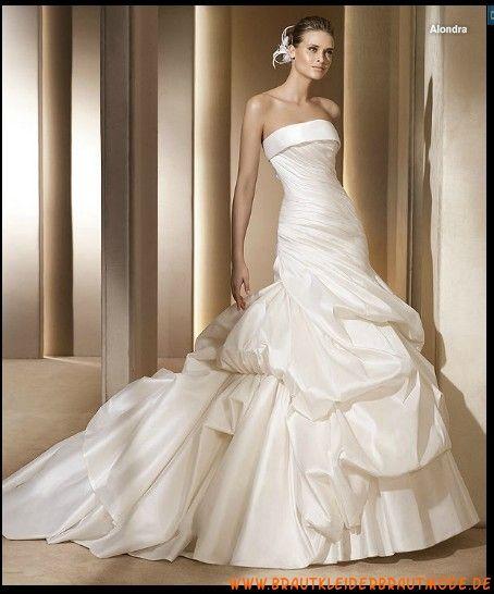 2013 Wunderschöne elegante Brautmode Wien aus Taft Ballrock mit Schleppe