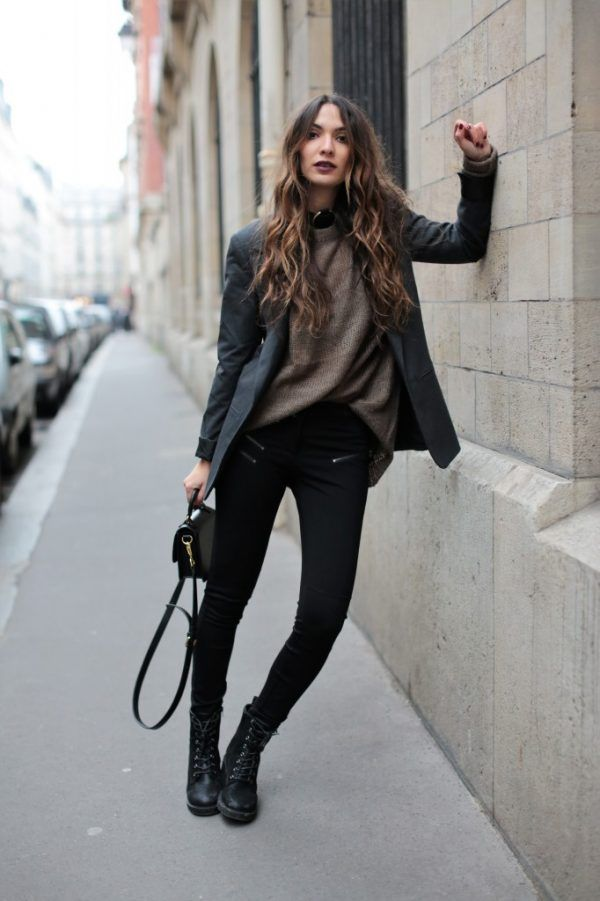 Pair your favorite skinnies with black combat boots. Top your look off with a blazer on top of a thick sweater. Let DailyDressMe help you find the perfect outfit for whatever the weather!