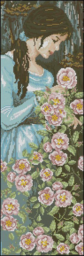 point de croix fille romantique aux fleurs  - cross stitch romantic girl with flowers