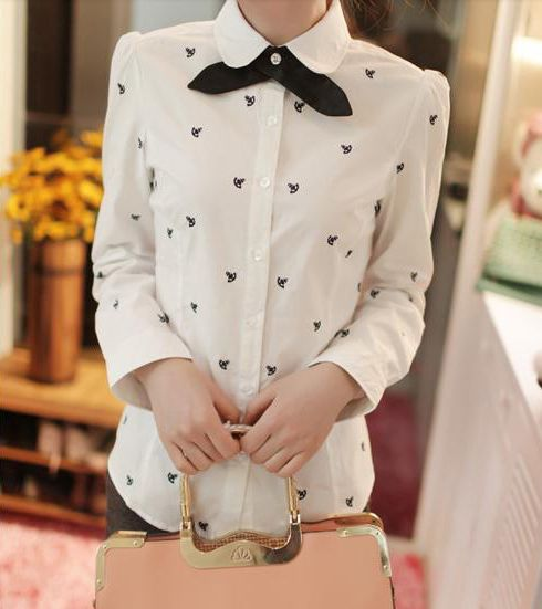 Vintage Flat Collar Bow Embellished Emboridery Long Sleeve Women's Shirt (WHITE,L) | Vintage Blouses