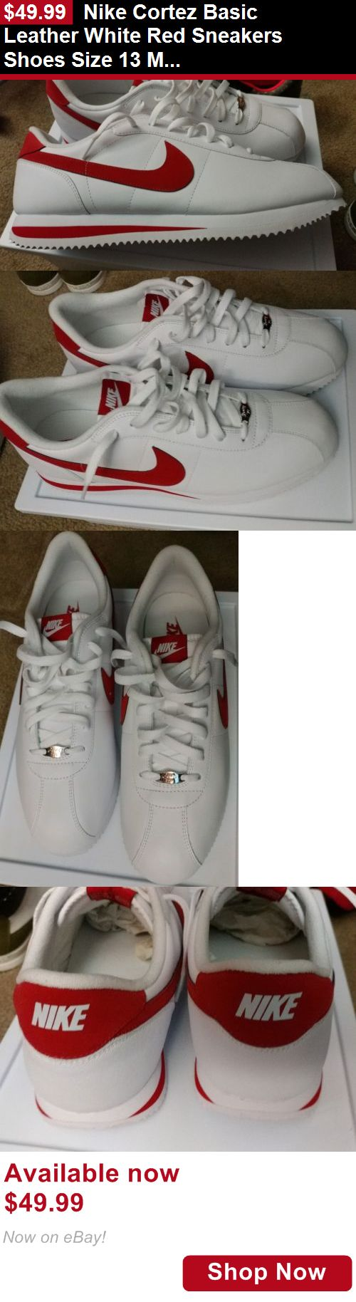 Men shoes: Nike Cortez Basic Leather White Red Sneakers Shoes Size 13 Mens BUY IT NOW ONLY: $49.99