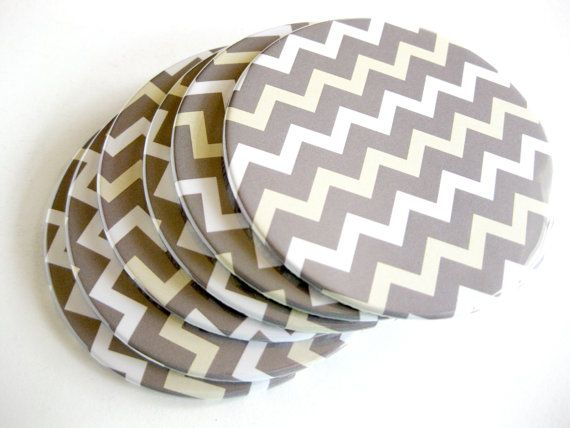 Gray Chevron Home Decor // Chevron Coasters // by crabappledesign, $18.00