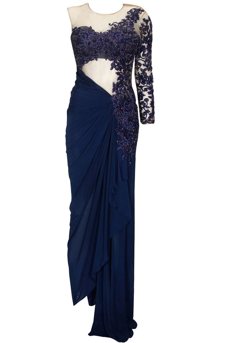 Indigo blue floral embroidered one shoulder draped gownavailable only at Pernia's Pop Up Shop.