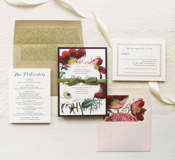 Floral Boho Wedding Invitations Plum and Gold by BeaconLane
