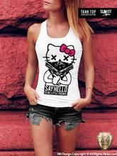 Womens T-shirt Hello Kitty Gangster Guns Tatto Bandana Tank Top WD086