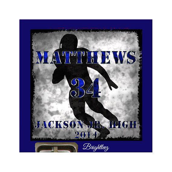 Football Locker Sign Grunge - Personalized Magnetic Locker Sign, Football Player Silhouette