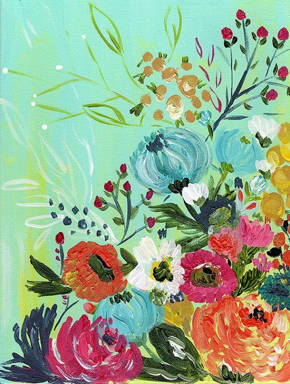 Boho floral art print by Bari J Bohemian art wedding bouquet Gypsy flowers