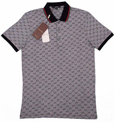 92aeba6d3019 Gucci Polo Shirt, Mens Gray Short Sleeve Polo T- Shirt GG Print All Sizes
