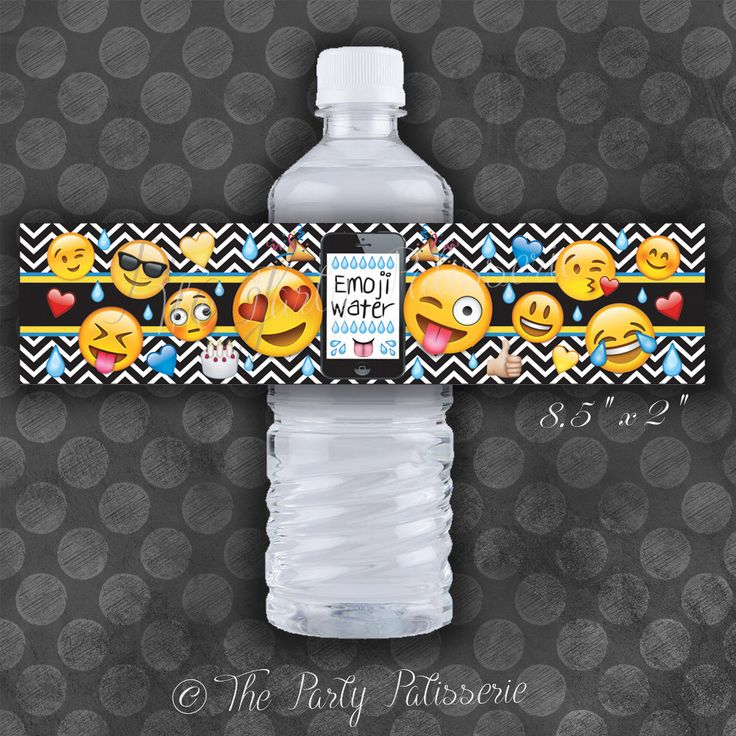 EMOJI Birthday Party Water Bottle Labels / Instant Download / Digital File by ThePartyPatisserie on Etsy https://www.etsy.com/ca/listing/385998698/emoji-birthday-party-water-bottle-labels