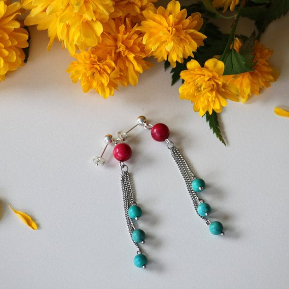 Chain earring with real claret and turquoise by DeaJewelryStore