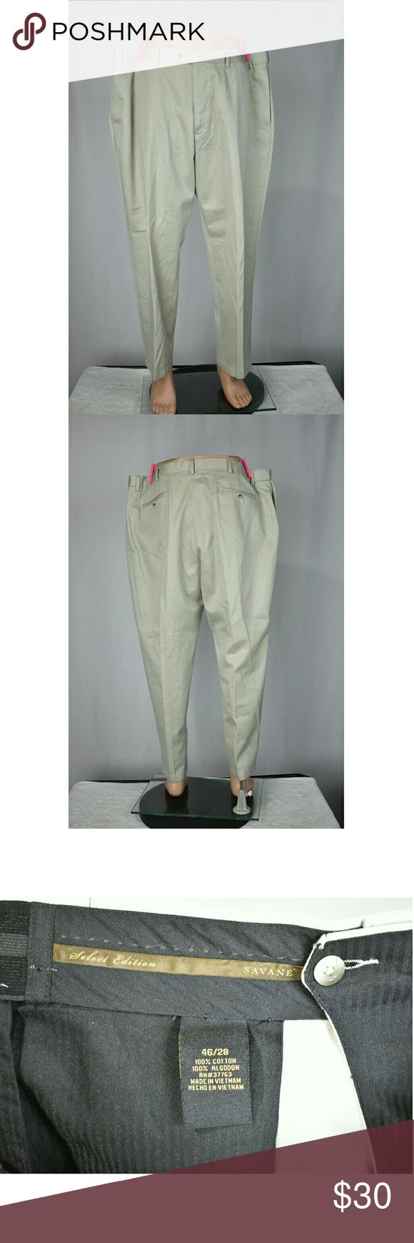 Big men's dress pants 46/28 Light Tan Brand                    : Savane Size                       : 46/28 Size type              : Regular Style                      : Dress Pants Color                     : Light Tan Inventory              : B57 Savane Pants Chinos & Khakis