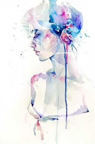 A woman with birds in her hair - watercolor