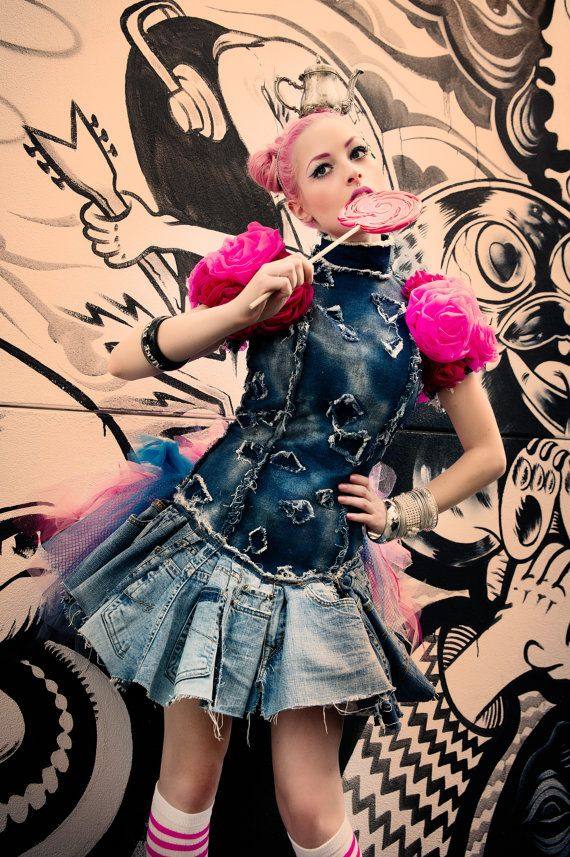 Up-Cycled Denim Tutu Dress The Hunger Games Effie Trinket Harajuku Queen of Hearts Wonderland Prom Dress by Janice Louise Miller on Etsy, $3,500.00