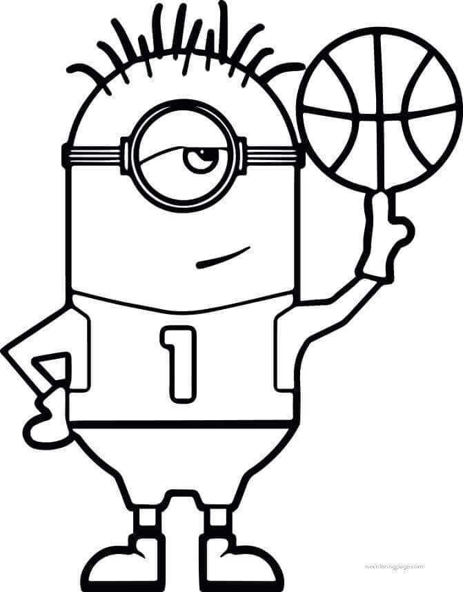 Basketball Coloring Pages To Print For Kids Minion Coloring Pages Sports Coloring Pages Coloring Pages For Kids