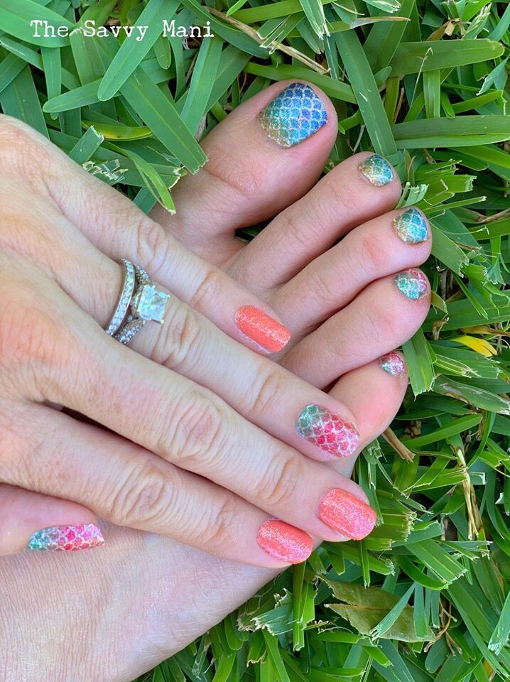 This Amazing Coral And Mermaid Manicure And Pedicure Is All Color Street So Quick And Easy