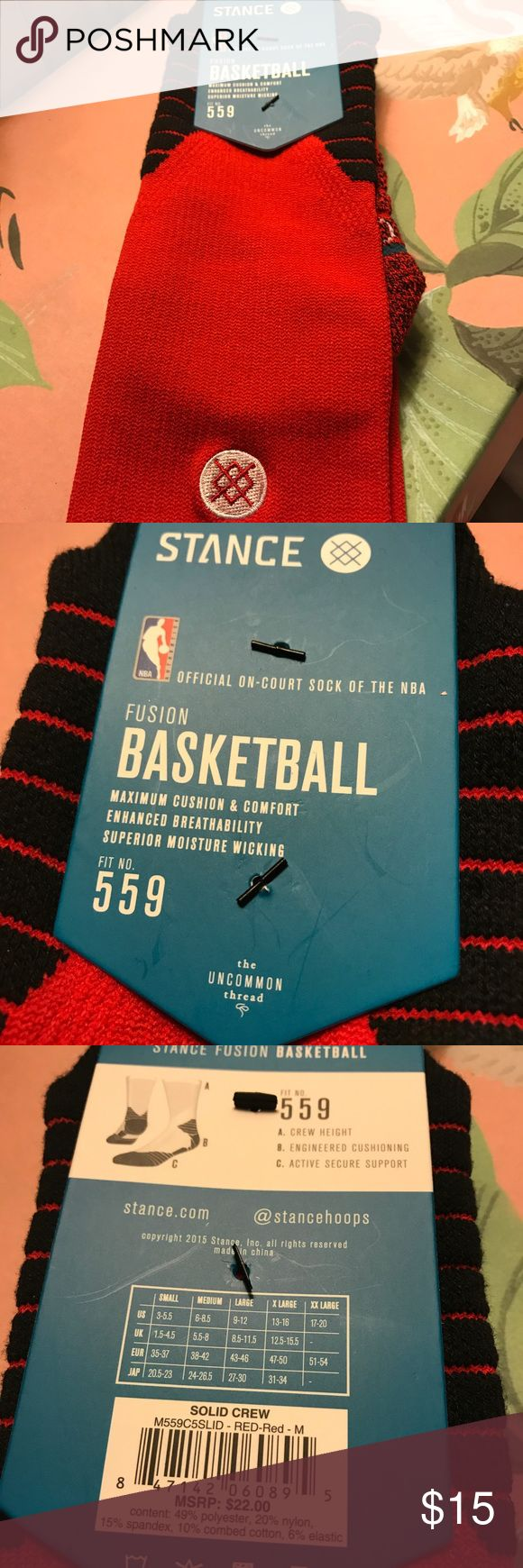 Stance Basketball NBA Sock NWT Size Medium Fits Size 6 to 8.5. Official On-Court Sock of the NBA in Blazing Red Stance Underwear & Socks Athletic Socks