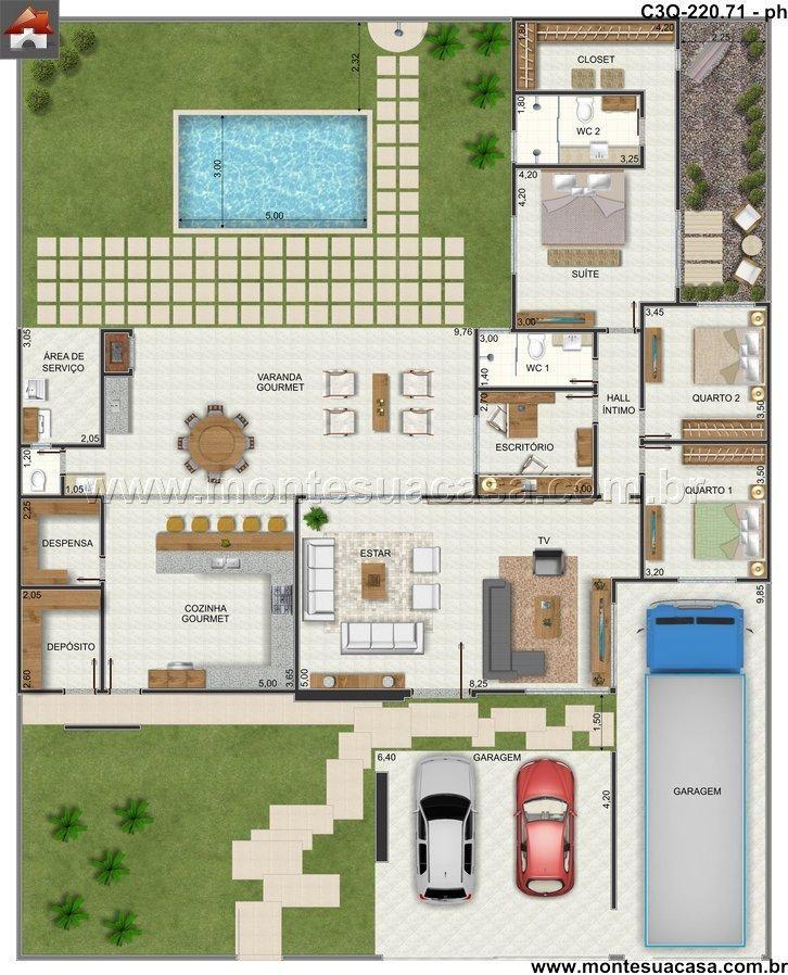 Casa 2 quartos planta baixa pinterest for Plantas de casas tipo 3 modernas