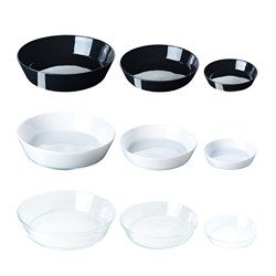 IKEA - VIKTIGT, Serving plate, set of 3, Each serving plate has been mouth blown by a skilled craftsman.