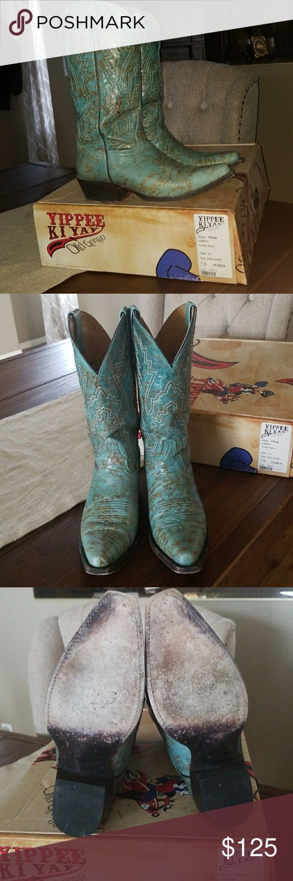 Old Gringo Boots Fango Aqua from the Old Gringo Yippee Ki Yay l line. I love these boots and hoped I could wear them, but they are a little too small for me. Old Gringo Shoes Heeled Boots