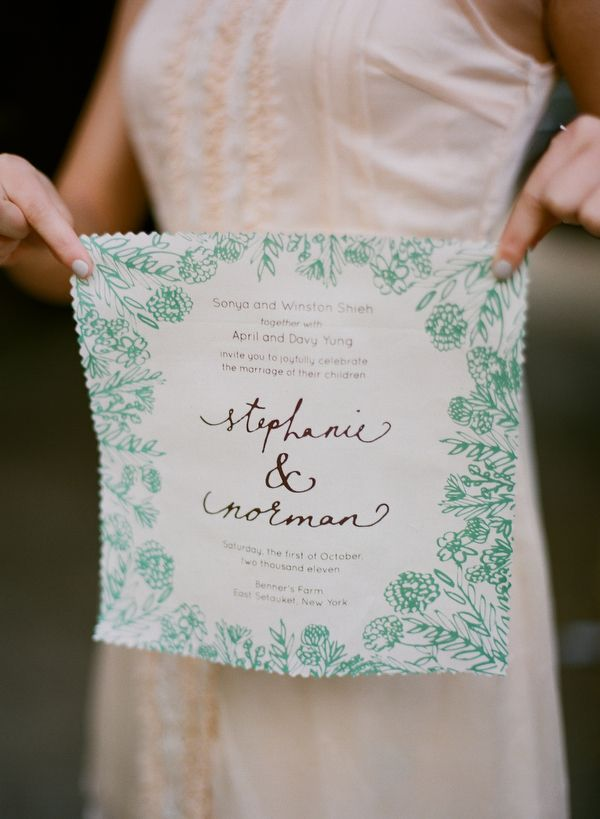 Hankie wedding invitations, photo by Kate Murphy http://ruffledblog.com/upstate-ny-farm-wedding/ #weddinginvitations