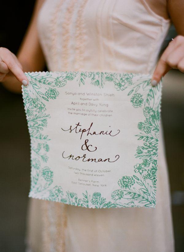 handkerchief wedding invitations // photo by Kate Murphy