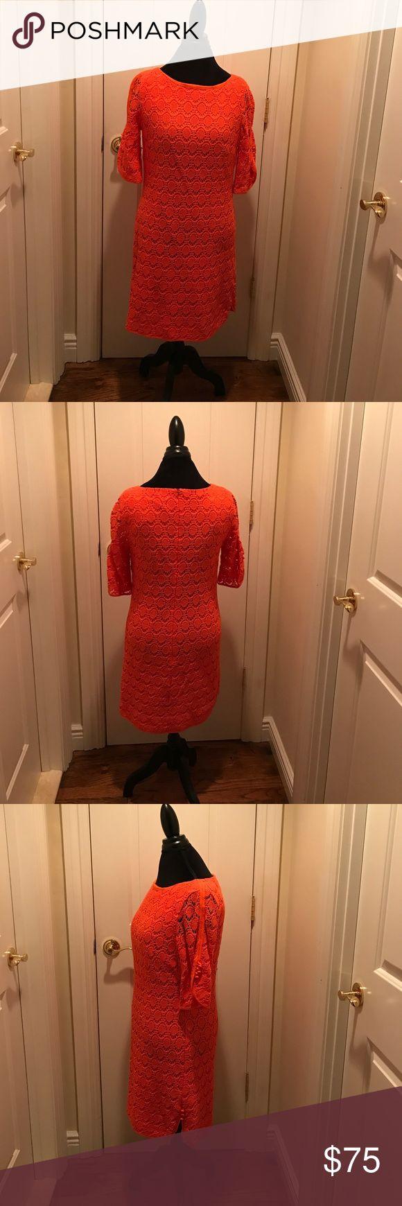 Trina Turk Lace Dress Orange Lace Dress Trina Turk- Like New -Worn 1 Time Trina Turk Dresses Midi