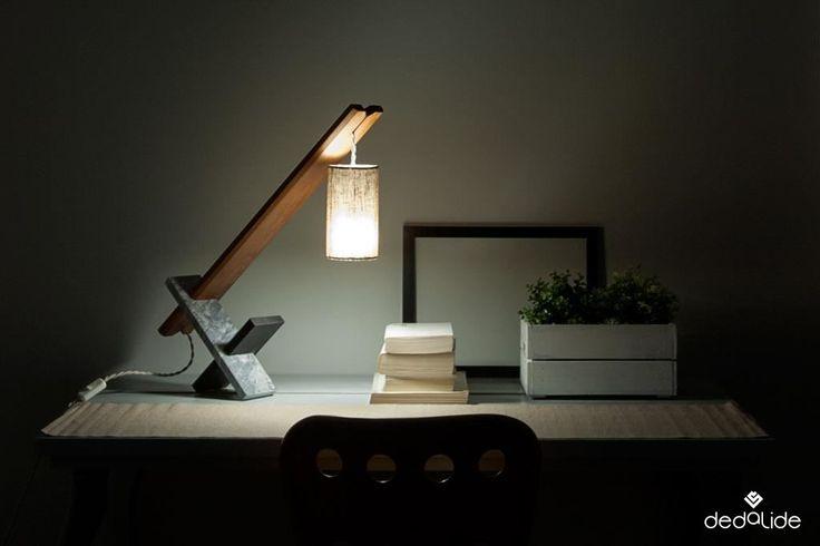 FOS. Lampada da tavolo - Table lamp Marmo, ardesia e legno di faggio  e una lanterna di lino. #dedalide #deda #design #homedecor #lampada #lampadadatavolo #lamps #tablelamps #madeinitaly #marmo #ardesia #legno