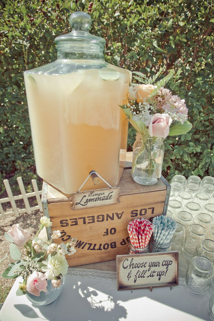 Mason jars, signature cocktail, and stripey straws!! Lve the little signs...could do it with small chalkboards for the punch, Firefly, Leamonade, and tea!!