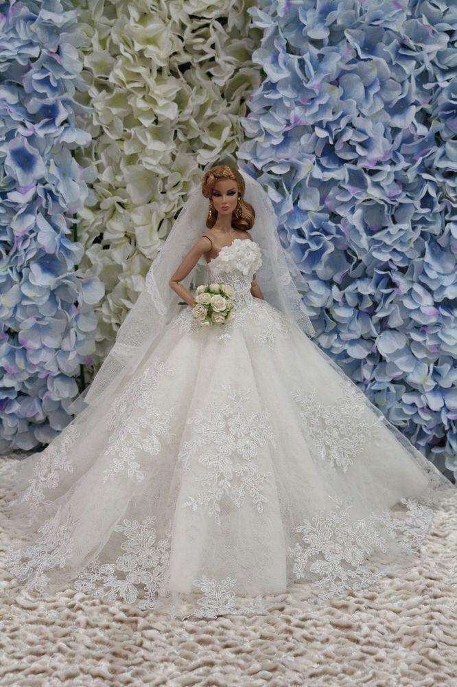 Wedding Dress-Fashion-Royalty-Silkstone-Barbie-Model-FR OOAK  BY T.D.31/5/1 #fashionroyaltydress #ClothingAccessories