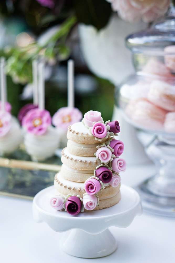 Wow! These mini wedding cake stacked cookies at this Bridal Shower Tea Party are amazing!! See more party ideas and share yours at CatchMyParty.com #catchmyparty #stackedcookies #cookies #bridalshower