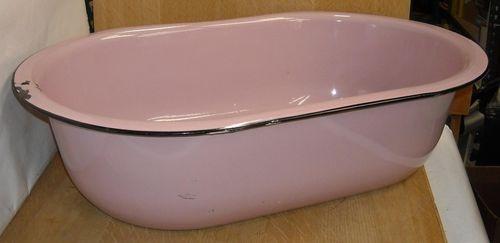 details about vintage antique rare pink enamelware baby. Black Bedroom Furniture Sets. Home Design Ideas