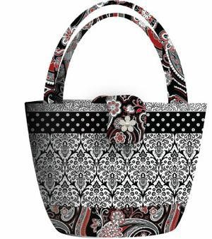 Free Black, White & Currant Bag Sewing Pattern by Henry Glass  Piccadilly Bag