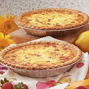Ham 'n' Cheese Quiche Recipe - super yummy made in a pie dish and in a cupcake pan for personalized servings for concert on green