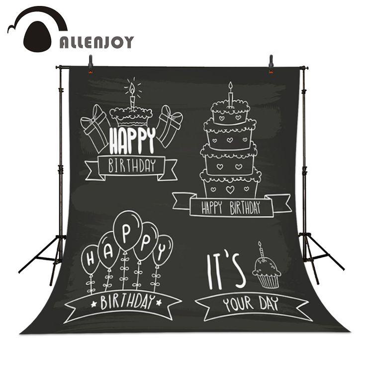 Birthday Background Label Happy birthday Hand Badge Cake Blackboard Hand drawn Badges card Balloons Decoration Backdrops