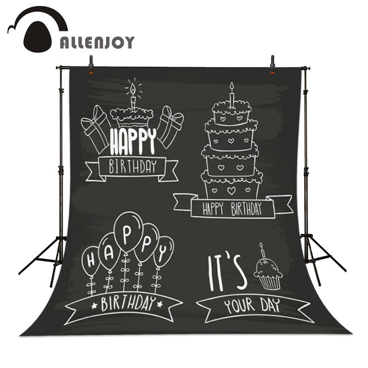 Birthday Background Label Happy birthday Hand Badge Cake Blackboard Hand drawn Badges card Balloons Decoration Backdrops