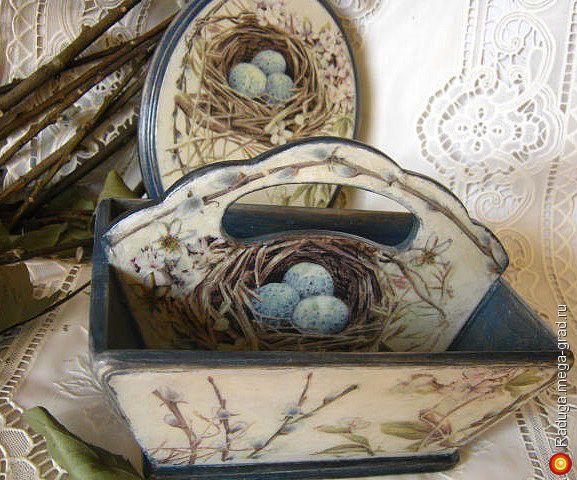 """Корзинка и панно """"Вербное воскресенье"""" - Авторская работа, подарки на крещение, пасху. МегаГрад - online выставка-продажа авторской ручной работы"""